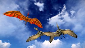 Flying Pterodactyl Against The Beautiful Cloudscape 3d Illustration Royalty Free Stock Photos