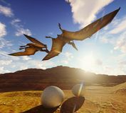 Flying pterodactyl against the beautiful cloudscape 3d illustration. Flying pterodactyl over the land Stock Photography