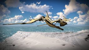 Flying pterodactyl over the land 3d illustration Stock Photo