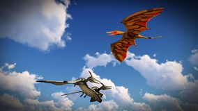 Flying pterodactyl over the land 3d illustration Royalty Free Stock Image