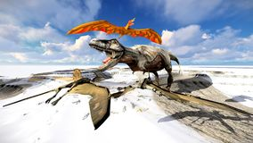 Flying pterodactyl over the land 3d illustration Royalty Free Stock Photography