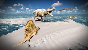 Flying pterodactyl over the land 3d illustration Royalty Free Stock Images