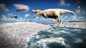 Flying pterodactyl over the land 3d illustration Stock Photography