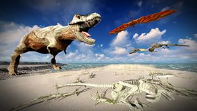 Flying pterodactyl over the land 3d illustration Royalty Free Stock Photo
