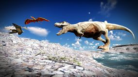 Flying pterodactyl over the land 3d illustration Royalty Free Stock Photos