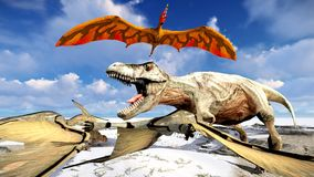 Flying pterodactyl over the land 3d illustration Stock Images