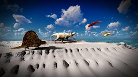 Flying pterodactyl over the land 3d illustration Stock Photos