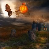 Flying pumpkin carriage Stock Photos