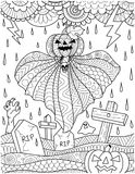 Flying pumpkin ghost above graveyard with thunder storm rain for card,poster and adult coloring book page. Vector illustration stock illustration