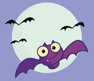 Flying purple vampire bat and full moon Stock Photos