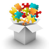 Flying puzzle Stock Photo