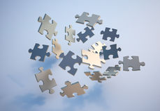 Flying puzzle pieces. 3D illustration Royalty Free Illustration
