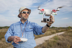 Flying quadcopter drone Royalty Free Stock Photo