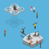 Flying quadcopter isometric flat vector concept. Royalty Free Stock Image