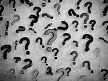 Flying question marks. Black flying question marks sign, 3d render Stock Photography