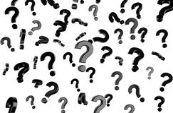 Flying question marks. Black flying question marks symbol, 3d render Royalty Free Stock Images