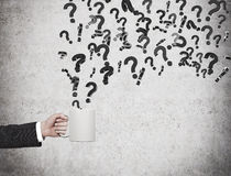 Flying question marks Stock Photos