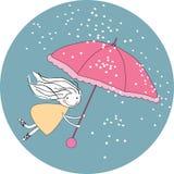 Flying in the rain. Vector illustration of girl flying in the rain Stock Images