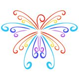 Flying rainbow bird like a snowflake, curly pattern vector illustration