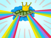 Flying rainbow turtle. Turtle shield with king crown fly in the sky and shine a shaft of rainbow light Stock Images