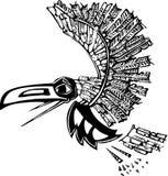 Flying Raven. Mythical flying Raven rendered in Northwest Coast Native style Royalty Free Stock Image