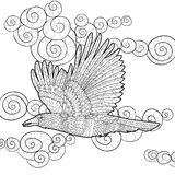 Flying raven with high details. Adult anti-stress coloring page with crow. Black white hand drawn doodle bird. Sketch for tattoo, poster, print, t-shirt in Stock Images