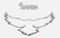 Flying raven. Line vector illustration. Silhouette with glitch error Stock Photos