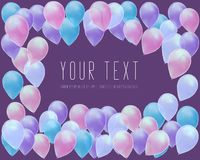 Flying Realistic Glossy Balloons celebrate concept on purple background. banner template, greeting card stock illustration