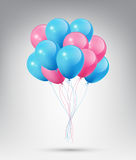 Flying Realistic Glossy Blue and Pink Balloons with Party and Celebration concept on white background Royalty Free Stock Photos