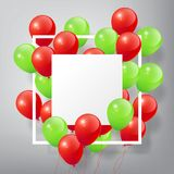 Flying Realistic Glossy Green Red Balloons with square white blank and frame, merry Christmas concept on white background Stock Photography