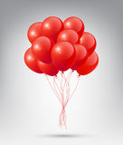 Flying Realistic Glossy Red Balloons with Party and Celebration concept on white background Royalty Free Stock Images