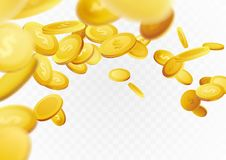Flying realistic golden cash coins abstract background. Casino p. Rize money Fortune rain flow jackpot. Isolated realistic 3D currency over white layout. Vector Royalty Free Stock Photography