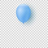 Flying realistic transparent blue balloon on a transparent background. Festive element. For children. For a holiday. Vector illust. Ration. EPS 10 Stock Photography