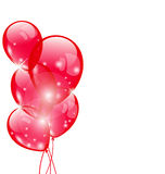 Flying red balloons isolated on white background Stock Images