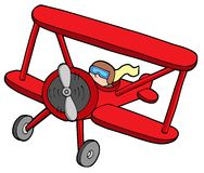 Flying red biplane. Vector illustration Royalty Free Stock Photos