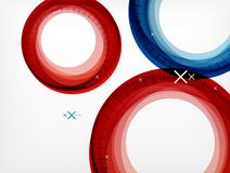 Flying abstract circles, vector geometric background, color air bubbles, web banner template, business or technology. Flying red and blue abstract circles Royalty Free Stock Photography