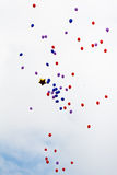 Flying red and blue balloons Stock Photography