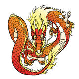 Flying red Chinese dragon on white. Flying red Chinese Asian dragon on white. Vector illustration, isolated Stock Photo