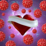 Flying red chopped heart with the white ribbon and the molecular spheres around. Copyspace for text Valentines day 3d illustration Stock Photography