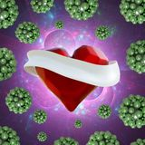 Flying red chopped heart with the white ribbon and the molecular spheres around. Copyspace for text Valentines day 3d illustration Stock Photos
