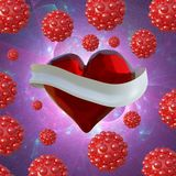 Flying red chopped heart with the white ribbon and the molecular spheres around. Copyspace for text Valentines day 3d illustration Royalty Free Stock Photo