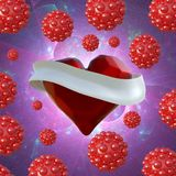 Flying red chopped heart with the white ribbon and the molecular spheres around. Copyspace for text Valentines day 3d illustration Royalty Free Stock Photography