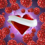 Flying red chopped heart with the white ribbon and the molecular spheres around. Copyspace for text Valentines day 3d illustration Stock Images