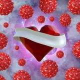 Flying red chopped heart with the white ribbon and the molecular spheres around. Copyspace for text Valentines day 3d illustration Royalty Free Stock Photos