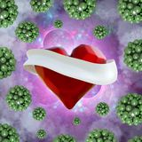 Flying red chopped heart with the white ribbon and the molecular spheres around. Copyspace for text Valentines day 3d illustration Royalty Free Stock Image