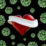Flying red chopped heart with the white ribbon and the molecular spheres around. Copyspace for text Valentines day 3d illustration Stock Image