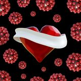 Flying red chopped heart with the white ribbon and the molecular spheres around. Copyspace for text Valentines day 3d illustration Royalty Free Stock Images