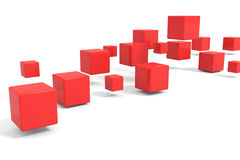 Flying Red Cubes. Royalty Free Stock Photography