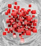Flying red cubes on an abstract background. 3d rendering royalty free illustration
