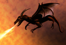 Flying Red Dragon. Breathing fire Royalty Free Stock Image